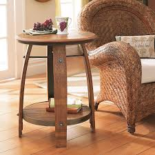 furniture wine barrel end table preparing zoom arched table top wine cellar furniture