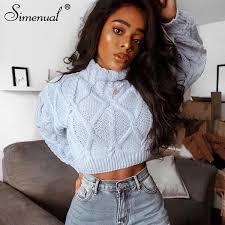 <b>Simenual Knitted</b> 2019 <b>Autumn</b> Women <b>Sweaters</b> Twist <b>Turtleneck</b> ...