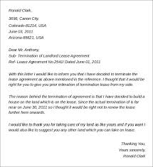 termination of landlord lease agreement rental termination letter to tenant