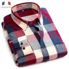 <b>Langmeng</b> 100% Cotton <b>Spring</b> Long Sleeve Plaid Flannel <b>Men</b> ...