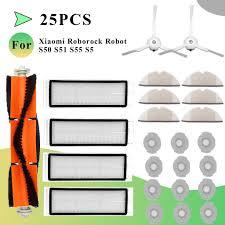 25pcs <b>Filter Main Brush</b> Mop For Xiaomi Roborock MI S50 S51 S55 ...