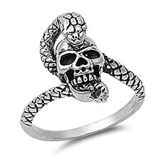 <b>Sterling Silver</b> Women's Skull Snake Serpent Ring <b>Fashion 925</b> ...