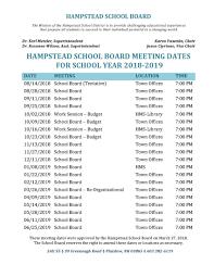 Hampstead School Board is <b>Now</b> in <b>Summer</b> Recess - HSD