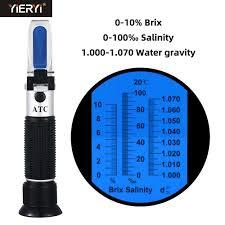 <b>Yieryi Handheld</b> 2 in 1 Brix & Salinity Refractometer 0 10% Brix / 0 ...