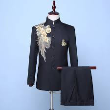 2019 2018 <b>Autumn</b> Winter Black <b>Stand Collar</b> Sequin <b>Embroidery</b> ...