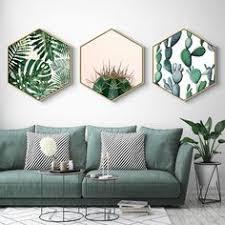 Online Shop <b>Watercolor Plant</b> Leaves <b>Nordic Style</b> Hexagon <b>Plant</b> ...