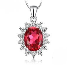 <b>Created Ruby</b> Princess Diana Inspired Sterling Silver Necklace ...