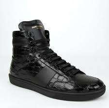 Saint Laurent Black <b>Crocodile</b> Print Leather Hi Top Sneaker 39/<b>Us 6</b> ...