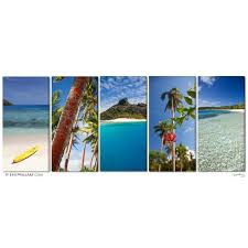 """Tropical Inspiration"" Fiji Islands <b>5</b>-<b>Piece</b> Fine Art Canvas <b>Wall Display</b>"