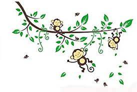 Naughty Monkeys Hanging on Tree Vines <b>Wall Decal</b> for <b>Baby Nursery</b>