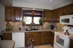 modern dark brown varnish staining wooden kitchen