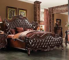 antique white traditional sleigh bedroom set dark brown pu cherry oak bed ac chateau