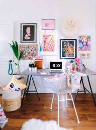 a bright and colorful office space bright basement work space decorating