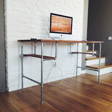 stainless steel pipe computer table with brown wooden top f and shelves on lacquer hardwood floor interior design amazing computer furniture design wooden computer