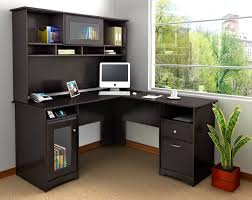 black office desk l shaped black wooden office desk small space complete with hutch plus book adorable modern home office character engaging ikea