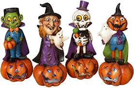 "<b>Halloween</b> 10"" Victorian <b>Skull Skeleton Pumpkin</b> Figurine"