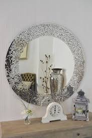 New Contemporary Design Large Round Mosaic Silver <b>Wall</b> Mirror ...
