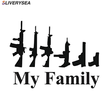 <b>SLIVERYSEA</b> My Family Gun Sticker Decal For Laptop Vehicle Car ...