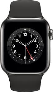 Apple Watch Series 6 44mm in Graphite <b>Stainless</b> - <b>Black</b> Sport - AT&T