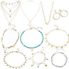 LABOTA <b>10 Pcs</b> Shell Choker <b>Necklace</b> Set for <b>Women</b> Seashell ...