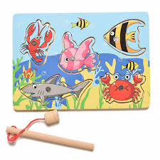 Children Fishing Game & <b>Wooden Ocean Jigsaw Puzzle</b> Board ...