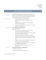 safety manager resume samples tips and templates safety manager job descriptions
