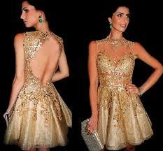 High Neck Short Mini <b>Gold</b> Homecoming Dresses <b>Sexy</b> Illusion ...