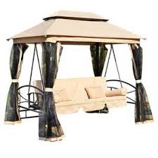 gazebo navy patio person patio daybed canopy gazebo swing tan cream w mesh walls