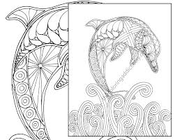 Small Picture dolphin coloring page adult coloring sheet by TheColoringAddict