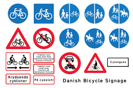 copenhagenize com bicycle culture by design designing bicycle above are all the traffic signs in relating to cycling at bottom left is the signage for bi directional cycle tracks which you don t see often for