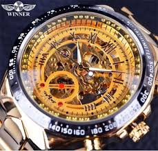 T-<b>WINNER</b> Designer Black Golden <b>Automatic</b> Skeleton Sport <b>Watch</b> ...