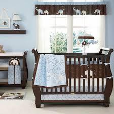 baby nursery decor cute motive baby boy bedding nursery blue color dark brown furniture simple baby boy furniture nursery
