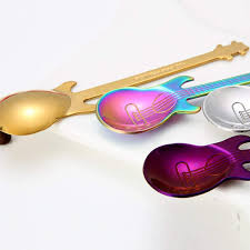 Swiftswan Guitar coffee spoon set <b>stainless steel dessert ice</b> cream ...