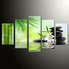 <b>5</b> Panel <b>Large</b> Poster <b>HD Printed</b> Painting Bamboo and Stone Spa ...