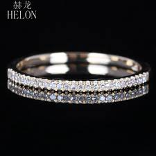 2019 <b>Helon Solid 10k</b> Yellow <b>Gold</b> Pave Natural Diamond Half ...