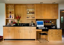 kitchen cabinets home office transitional: built in desk cabinets home office contemporary with bar black countertops blonde