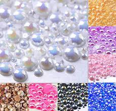 500pcs 2 10mm <b>White AB</b> Color Half Round Pearl Bead <b>FlatBack</b> ...