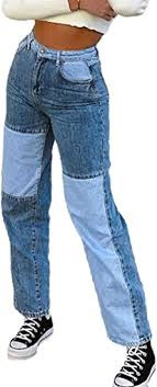 SOTTYH <b>Fashion Color</b> Block Jeans for <b>Women</b>, High Waist Pockets ...