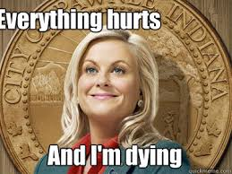 Everything hurts And I'm dying - Leslie Knope - quickmeme via Relatably.com