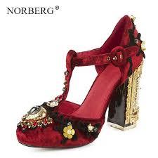 <b>NORBERG fashion women's</b> high heels fancy square shoes ...