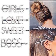 St John 4Pcs Sparkly Letter <b>Hair Clip Word</b> Barrettes Pins <b>Crystal</b> ...