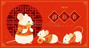 Happy rat year. Happy new year with cute <b>white mouse</b> holding gold ...