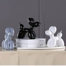 1 Pcs <b>Fashion</b> Balloon Dog <b>Ceramic Resin</b> Crafts Sculpture Creative ...