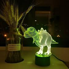 Dinosaur Gifts <b>3D illusion</b> Night Light Touch 7 Color <b>LED</b> Lamp Boy ...