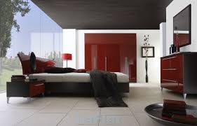 red wall paint black bed: wow red and black bedroom paint  in inspirational home decorating with red and black bedroom