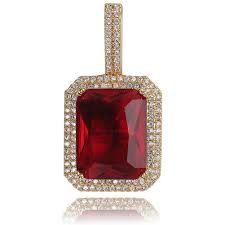 TOPGRILLZ Iced Out <b>Bling</b> Gem <b>Stones</b> Solitaire Pendant Necklace ...