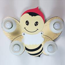 kids room cartoon wooden bee ceiling lamp creative baby room ceiling lamps boy girl room ceiling baby bedroom ceiling lights