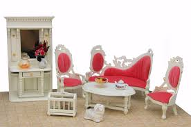 hotsale miniature living room wooden dollhouse furniture set toys red simulation furniture for dollhouse cheap wooden dollhouse furniture