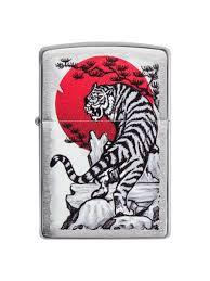 <b>Зажигалка Asian Tiger</b> с покрытием Brushed Chrome <b>Zippo</b> ...