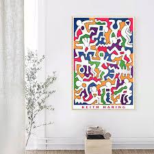 Keith HARING Original <b>Pop Art</b> Abstract <b>Canvas Painting</b> Wall ...